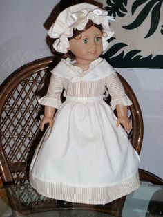 1770s 4 Pc Colonial Work Dress Apron Mob Cap Shawl American Girl Felicity Elizabeth 18 inch doll on Etsy, $39.50