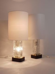 Pair of Kalmar Ice Glass Side Lamps with Round Lampshades, Austria, 1950s   From a unique collection of antique and modern table lamps at https://www.1stdibs.com/furniture/lighting/table-lamps/