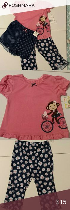Little Me 3 Piece Set. NWT NWT, Pink short sleeve top with monkey applique, ribbon neckline with small bow,  Navy blue pull on pants with daisy print, ruffle trim on hem. Navy shorts with white polka dots, pink bow at waist, ruffle hem. Little Me Matching Sets