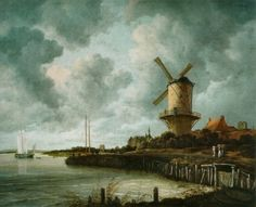 From Rijksmuseum, Jacob van Ruisdael, The Windmill at Wijk bij Duurstede (ca. 1668 -c. Oil on Canvas, 83 × 101 cm Canvas Artwork, Oil On Canvas, Framed Art Prints, Painting Prints, Dutch Golden Age, Wood Print, Delft, Art History, Landscape Paintings