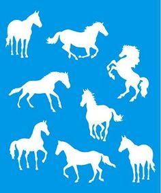 Stencil de Cavalos 17 x 21cm - STM 243 Litoarte - Stencil 17 x 21cm - Stencil ou molde vazado - Empório Janial