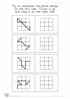 """In the """"Memory Blocks Designs 3x3"""" worksheets, the student must remember the block design on the left so that they can copy it to the open box on the right when the design is no longer visible. Learning For Life, Visual Learning, Block Design, Line Design, Worksheets, Visual Memory, Try To Remember, Vide, Motifs"""