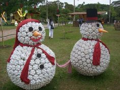 Snowman made from plastic bottles