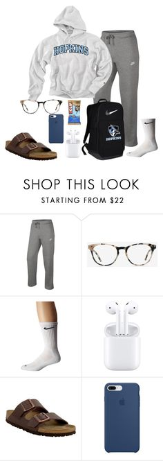 """""""travel day"""" by soccerstreak on Polyvore featuring NIKE, Ace, Birkenstock and Apple"""
