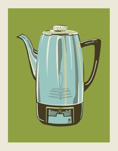 Coffee Pot - Green Serigraph by Methane Studios at AllPosters.com