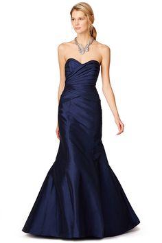 ML Monique Lhuillier Enwrapped Gown Dark Blue Bridesmaid Dresses, Blue Dresses, Wedding Dresses, Bridesmaids, Bridesmaid Ideas, Ruched Dress, Strapless Dress Formal, Tie Dress, Formal Dresses
