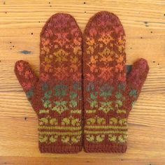 Self-striping yarn creates the color of changing fall leaves in these mittens.