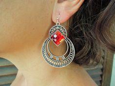 red party earrings-bohemian earrings  Boho Jewelry by ebrukjewelry