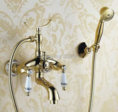 81.19$  Watch now - http://alipzf.worldwells.pw/go.php?t=32639548584 - Bathroom Wall Mounted Faucet with Luxury Gold Color Brass Handheld Shower Head Dual Handles Bath Tub Mixer Tap Wtf406
