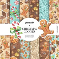 Christmas Gingerbread, Christmas Paper, Christmas Candy, Christmas Albums, Christmas Wrapping, Merry Christmas, Christmas Gifts, Xmas, Digital Scrapbook Paper