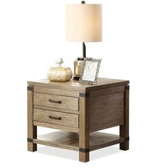 Riverside Furniture Bay Cliff End Table with gold accents