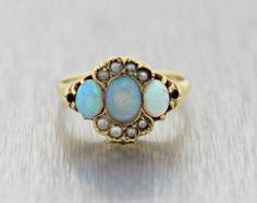 Victorien C1890 édouardienne 14 k Solid Gold Fire Opal graine perle bague de fiançailles