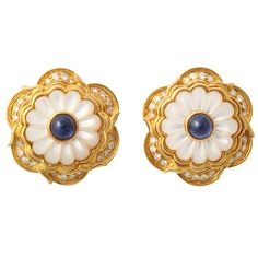 harry winston jewelry collection | HARRY WINSTON Earrings 18KT Pearl Diamond and Sapphire at 1stdibs