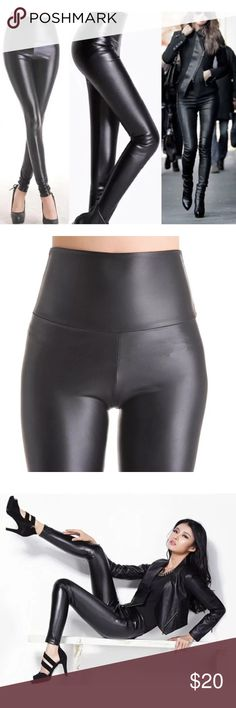 High Waisted Black Vegan Liquid Leather Leggings Faux Leather leggings give stretch for endless wear. Enhance your shape while providing tummy control. Large fits size 8. Price is firm unless bundled Haute Ellie Pants Leggings