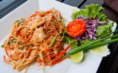 Photo about Pad Thai noodles with chicken. Image of asia, spicy, tourist - 24418407 Pad Thai Noodles, Chicken Noodles, Thai Chicken, Japchae, Spicy, Dining, Ethnic Recipes, Food, Interior Design