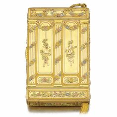 A GIFT FROM EMPRESS ALEXANDRA FEODOROVNA THE 25TH WEDDING ANNIVERSARY: A FABERGÉ IMPERIAL JEWELLED 4-COLOUR GOLD CIGARETTE CASE, ST PETERSBURG, 1899  SOLD. 612,450 GBP  in neoclassical taste, the surface richly chased, the base applied with diamond-set Roman numeral XXV, reversible to form the Latin initials M and V for Grand Duchess Maria Pavlovna and Grand Duke Vladimir Alexandrovich in commemoration of their 25th wedding anniversary.  From the Romanov Heirloom sale at Sotheby's.