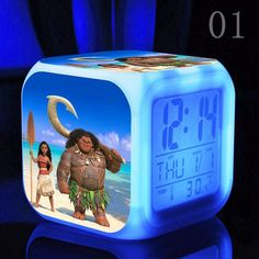 New Princess Moana and Maui LED Nightlight and Clock