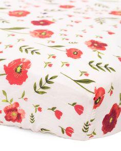 Cotton Muslin Crib Sheet - Summer Poppy - Pre-order now!