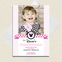 Minnie Mouse invite with photo