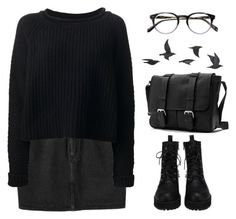 """""""monday"""" by fionita ❤ liked on Polyvore featuring Monki, Jo No Fui, Jayson Home, black, skirt, Boots, Sweater and grunge"""