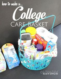 Your favorite College Student will LOVE you if you send them a care basket! Get tips on How to make a College Care Basket Plus find BOGO coupons for Schick Razors as well! College Gift Baskets, College Dorm Gifts, College Dorms, College Board, College Hacks, Unique Graduation Gifts, Grad Gifts, Graduation Ideas, Graduation Gift Baskets