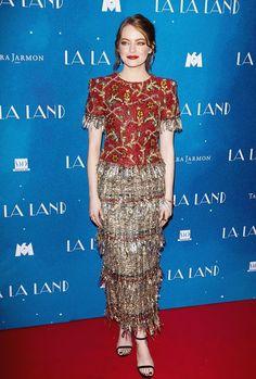 Emma Stone attends 'LA LA LAND' Premiere at Cinema UGC Normandie on January 10, 2017 in Paris, France.... - Emma Stone Style