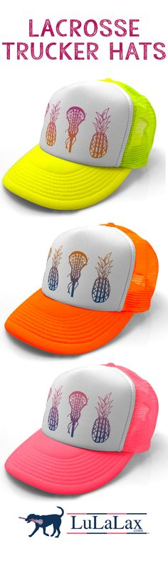 """Our Lacrosse Trucker hats are perfect for lax girls everywhere. These top selling hats are perfect for summer and available in lots of popular designs! A great lacrosse gift idea too. Our custom printed 5-panel trucker hats have a 3 3/4"""" structured crown, with a polyester foam front and breathable mesh back. They have a snap closure on the back of the hat for an easy-to-adjust comfortable fit."""