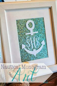 I LOVE this idea. I'm going to adapt it for our bathroom. Brilliant. :-D ~ 20 Minutes Tuesday | Nautical Monogram Art