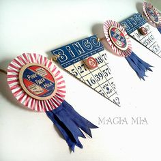 Magia Mia: Patriotic FarmHouse Banner Garland, Rosette Medallion Red White Blue Upcycled Milk Bottle Caps, Bingo Cards Pennants, HandMade 4th of July