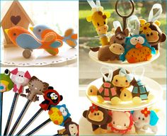 Cute felt animals (party decoration, toppers, kids' Christmas ornaments, favors...)