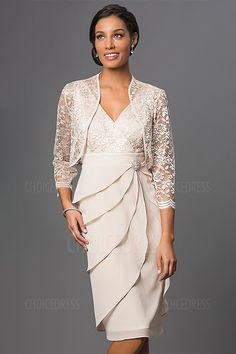Sheath/Column V-neck Knee-length Mother of the Bride Dress With Ruching Crystal brooch Lace