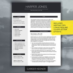 Modern Resume Template Resume Cover Letter For By CareerKeener