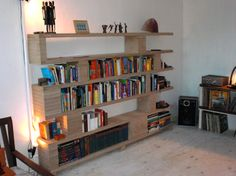 Plywood Bookcase 4 Feet Wide And 1 Foot Deep She Decided To Create A Library Shelf From Boards One Two Sheet Bookcases