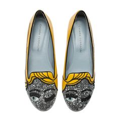 "Yellow patent and silver glitter ""Flirting"" slippers with patent leather and suede embroideries and ton-sur-ton patent covered heels.Light blue leather lining and insole. Made in Italy"