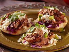 Chipotle Pulled Pork Tacos con Queso Fresco by Chef Aaron Sanchez/Cacique