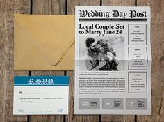 Unique newspaper wedding invitations, personalized for you! This is a fun, creative opportunity to tell the details of your love story and show off the individual personalities of you and your future spouse. Perfect for a brunch, vintage, or rustic wedding! PRINTED SPECS