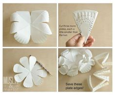 Flores feitas com prato de papel passo 2