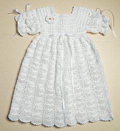 Crochet baby Christening / Blessing Gown - Open Fan Pattern