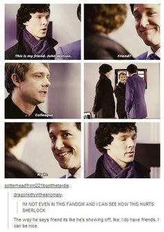 The one time i wanted to smack John. How dare you not accept Sherlock's friendship!