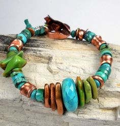 Turquoise and Copper Bracelet, a Beaded Bracelet with Copper PMC, Copper Pipe Beads, Tibetan, Hubei, and Mohave Turquoise- Clifton
