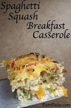 A Spaghetti Squash Breakfast Casserole that is packed with vegetables from The Paleo Gypsy!