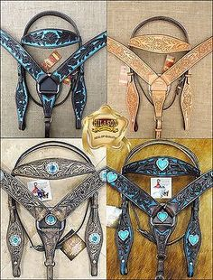 HILASON WESTERN LEATHER HORSE HEADSTALL BREAST COLLAR BLACK TURQUOISE TAN BROWN