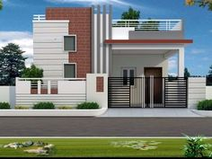 front elevation designs for duplex houses in india Single Floor House Design, House Front Design, Small House Design, Modern House Design, Bungalow Haus Design, Duplex House Design, Village House Design, Kerala House Design, Independent House