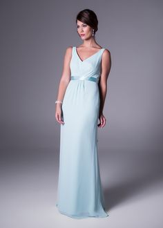 V-neckline bridesmaid's dress with satin waistline<b>To order only</b> Bridesmaid Dresses, Wedding Dresses, Bridesmaids, Color Trends, Groom, Neckline, Satin, Elegant, Formal Dresses