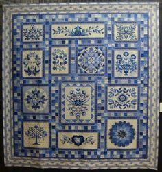 2013 Shipshewana Quilt Festival:  pattern is Robert's Floral Garden.  Quilt titled Delft Garden by Gail H. Smith, quilted by Donna Derstadt.