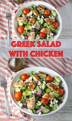 This Greek Salad with Chicken is super easy to make. I made a simple marinade for the chicken as well as a homemade Greek salad dressing that is oh so savory!