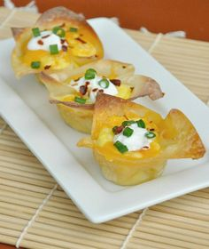 These are scrambled eggs baked in a muffin pan that has a wonton wrapper as a lining.  They look so easy and good and low carb.