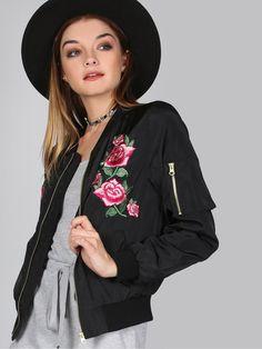 Jackets by BORNTOWEAR. Floral Satin Finish Bomber Jacket Black