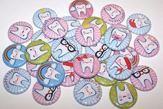 """Happy Teeth Dental Buttons Set of 10 Buttons 1"""" or 1.5"""" Pin Backs or 1"""" Magnets Oral Health Pins"""
