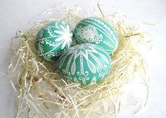 set of 3 Green pysanky chicken egg shell by UkrainianEasterEggs, $35.95
